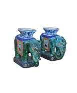 Pair Ceramic Handmade Chinese Green Blue Oriental Elephant Figures cs3622 - $3,890.00
