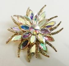 Vintage Style Gold AB Starburst Swarovski Crystal Brooch Pin - $39.95