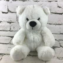 Teddy Bear Plush White Soft Polar Bear Sitting Stuffed Animal Comfort Toy - $9.89