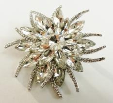 Vintage Style Silver Clear Starburst Swarovski Crystal Brooch Pin - $39.95