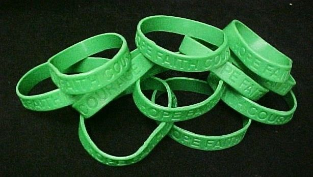 Green Awareness Bracelets 12 Piece Lot Silicone Jelly Wristband Cancer Cause image 3