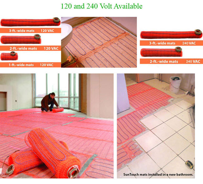 SunTouch Radiant Floor Heating Mat Kits 10 sq  - 2ft Wide