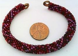 Red Bead Crochet Rope On Copper Bracelet 2 - $27.19
