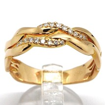 SOLID 18K ROSE GOLD BAND RING, DIAMONDS CT 0.16, WAVE, ONDULATE, BRAID image 1