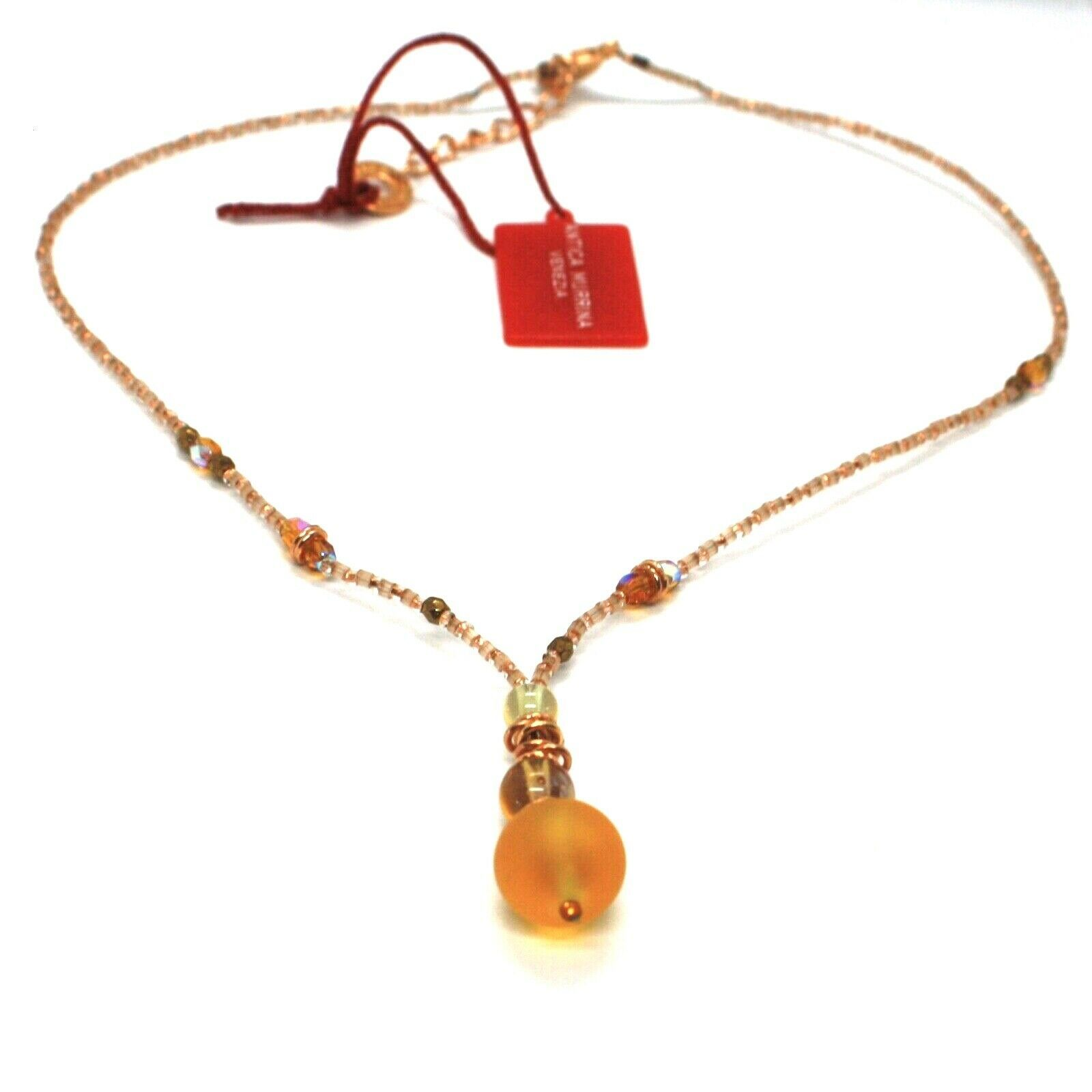 Necklace Antica Murrina Venezia with Murano Glass Beige & Amber CO872A10