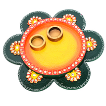 Wooden Puja Thali Flower Design Multicolored Festive Season Plate Gift I... - $34.95