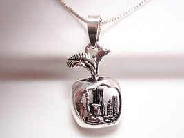 New York City Apple Cutaway Showing the Big Apple Pendant 925 Sterling Silver - $9.89