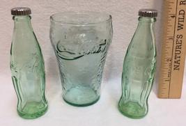 Coca Cola Salt & Pepper Shakers & Mini Coke Glass Green Miniature Bottle... - $9.89