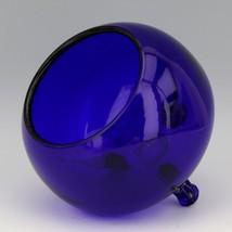 Scarce Viking 1014 Large Cobalt Blue Flowerlite with Crystal Frog image 2