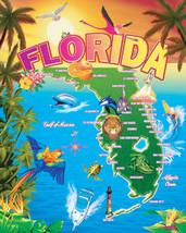 Florida Landmark Map Two Person Large Pool Bath Beach Souvenir Towel 54X68 - $24.99