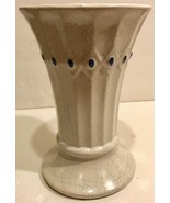 """McCoy Cream Vase With Blue Diamond Pattern - 9"""" Tall - Great for Rustic Decor! - $17.94"""