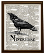 THE RAVEN NEVERMORE Edgar Allan Poe Vintage Dictionary Page Art Print No... - $12.00