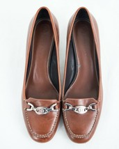 Brown Leather Slip On Heels  8 M Dress Shoes Silver Chain Logo  Etienne Aigner - $31.92