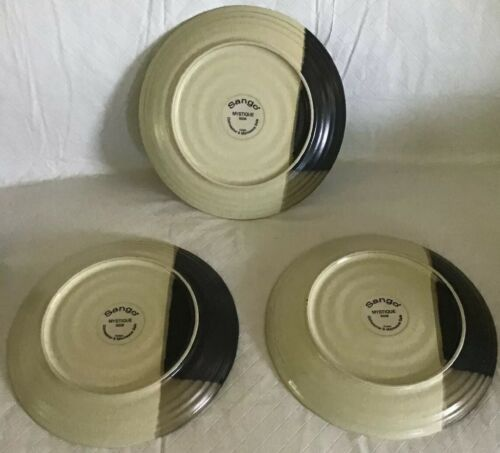 "Sango Mystique 5036 Salad Plate 8"" Set of 3 Stoneware Plates Brown Tan EUC"