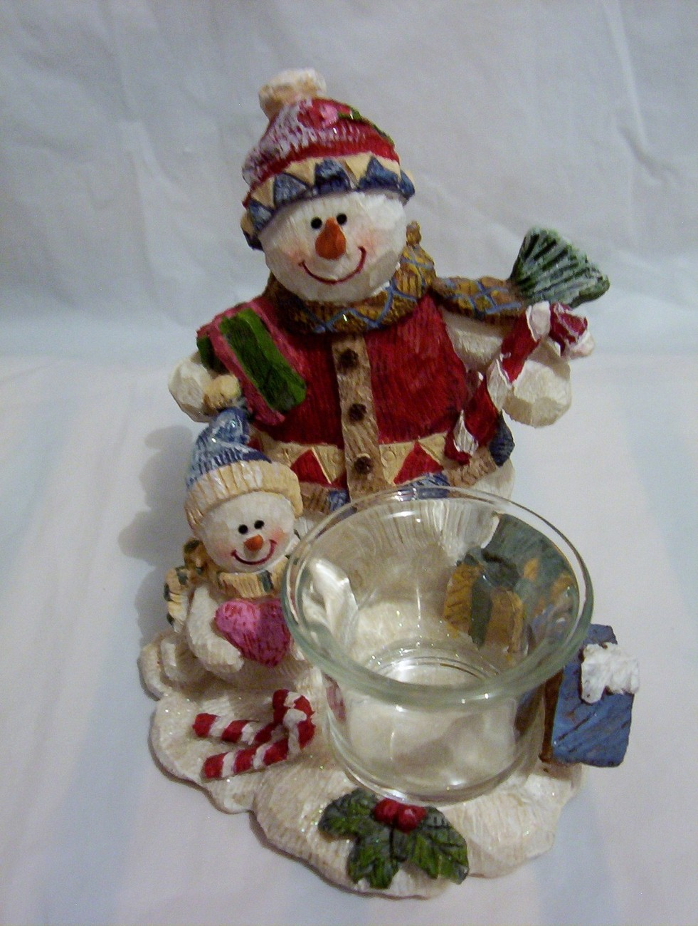 Snowman Votive Candle Holder Resin Christmas Holiday ...