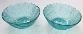 Arcoroc (2) Large Turquoise Blue Color Glass Serving Bowls In The Wheat Design - - $19.99