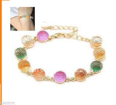 "Colorful crystal Ball Candy Beads Charms Link Bracelet 9.5"" (inches). - $14.84"