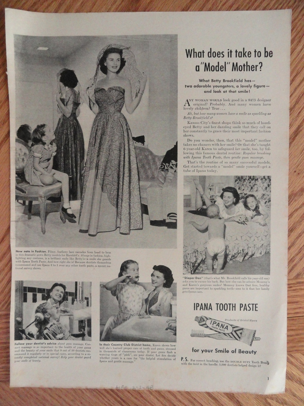 Ipana Tooth Paste (Model Mother?) 1948 magazine print Ad.   Bonanza