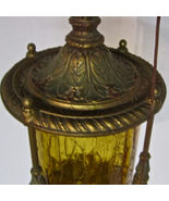 Very Heavy Old Hand Painted Brass/Bronze? Amber... - $256.41