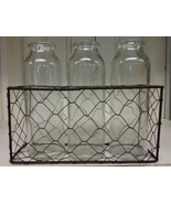 Three Tall Narrow Glass Bottles in Metal Mesh Holder - $24.00