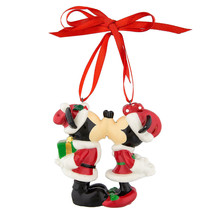 Disney Parks Santa Mickey and Minnie Kissing Figural Ornament Set New with Tags - $38.80