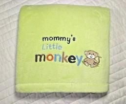 Baby Starters Mommy's Little Monkey Green Fleece Blanket Lovey Soft 30x40 Euc - $22.64