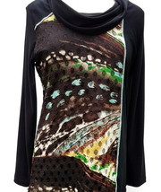 Capuccino/Multi/Black Abstract Print Laser Cut Lace Cowl Collar Top by P... - $48.90