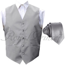New Men Silver Gray Solid Tuxedo Suit Vest Waistcoat And Necktie Wedding... - $18.79+
