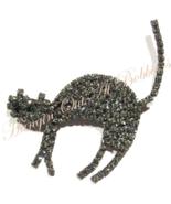 Cat Pin Brooch Gray Crystal Prong Set Silvertone Metal Autumn Fall Hallo... - $24.99