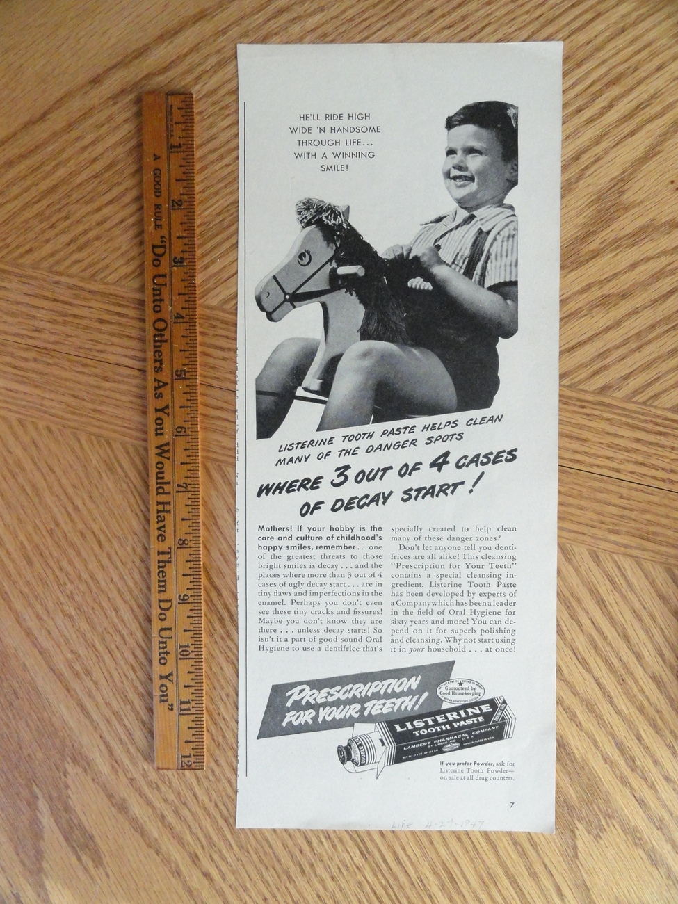 Listerine Tooth Paste (boy on rocking horse) 1947 magazine p Bonanza