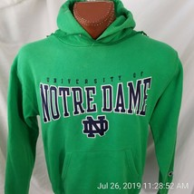 University of Notre Dame Green Sewn In Champion Sweatshirt Hoodie Cotton... - $21.48