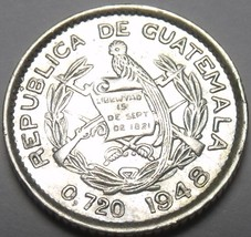 Au/Unc Silver Guatemala 1948 5 Centavos~Free Shipping - $19.98