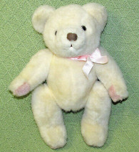 "Vintage Mary Meyer 12"" Jointed Teddy Bear Ivory With Pink Paws Ribbon Plush Toy - $32.73"