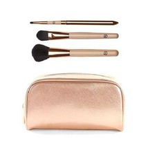 Luke Henderson Large Rose Gold Tone Cosmetic Case with 3-piece Brush Set  - $34.65