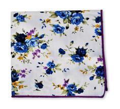 Frederick Thomas avorio crema rosa blu cotone con fiori fazzoletto da tasca