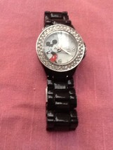 Ladies Disney Accutime Bold Crystal Mickey Mouse Mop Black Band Quartz Watch - $38.95