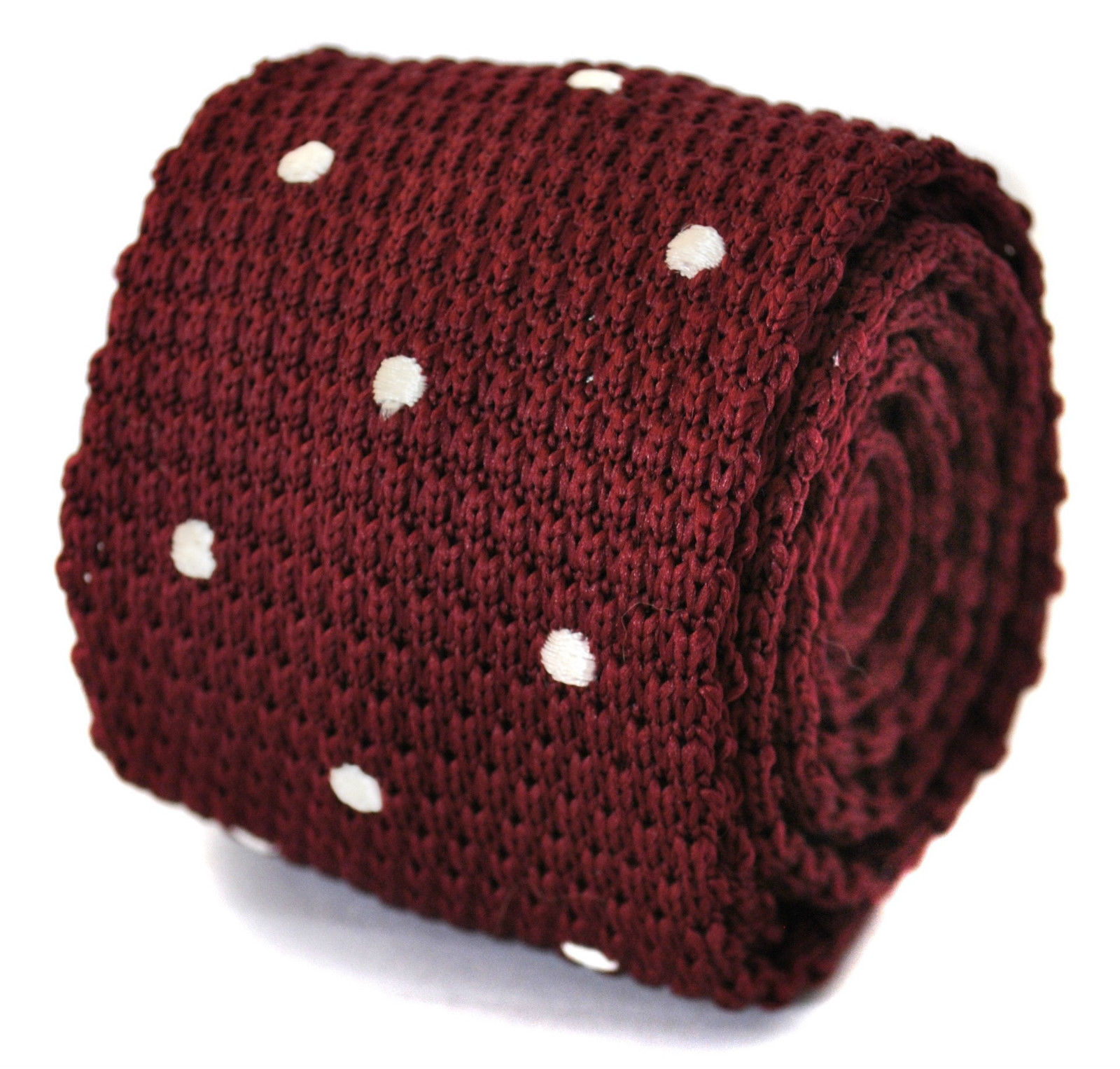 Frederick Thomas knitted maroon and white spotted tie