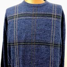 Geoffrey Beene Mens Sweater XL Blue Plaid Design Soft Crew Neck Pullover... - $37.39