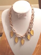 Robert Lee Morris Soho Two-Tone Woven Chain Yellow Bead Frontal Necklace... - $57.77