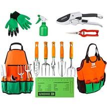 UKOKE Garden Tool Set, 12 Piece Aluminum Hand Tool Kit, Garden Canvas Apron - $42.54
