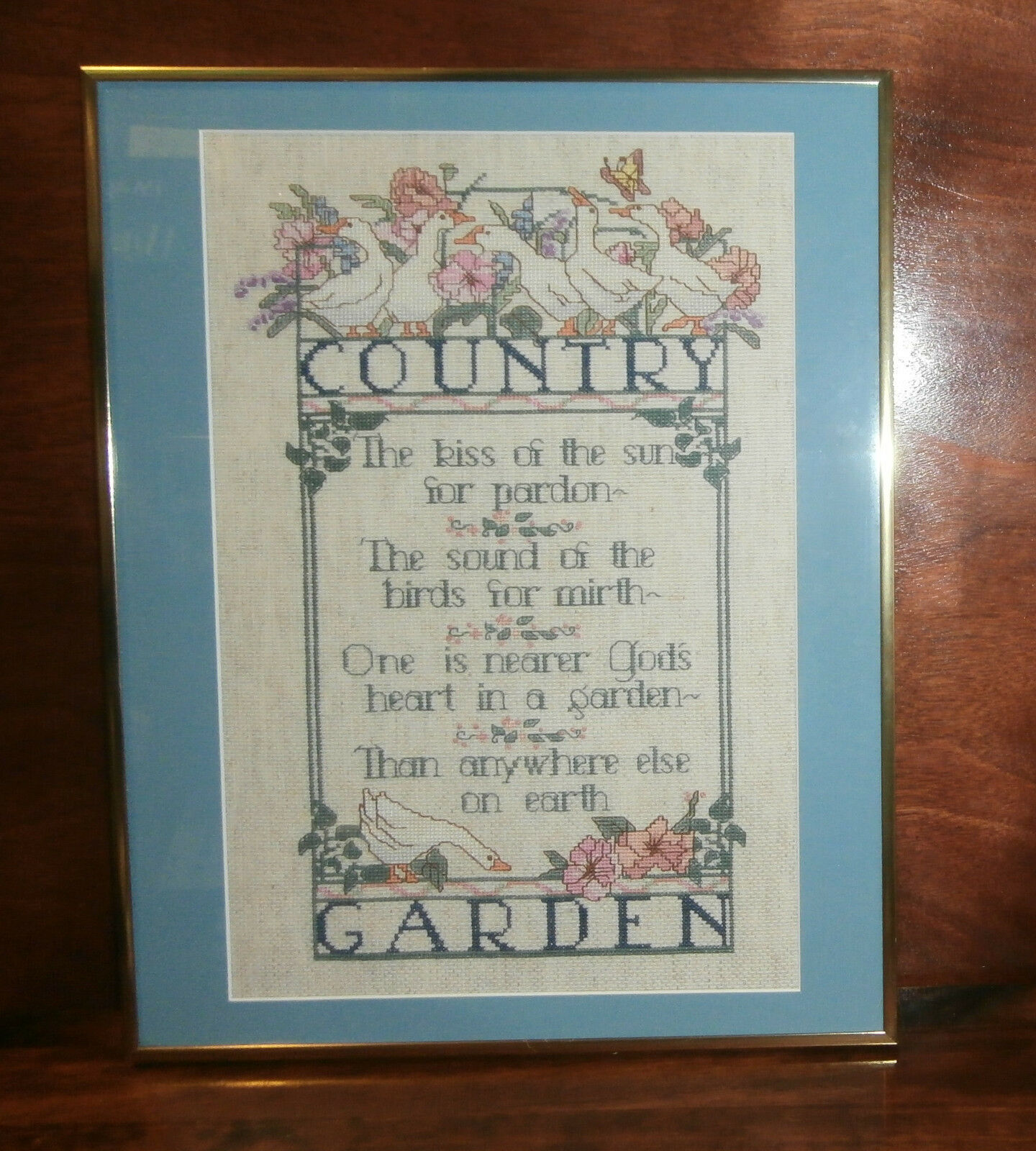 "Primary image for Country Garden Cross Stitch Finished Matted & Framed 14"" x 18"" Ducks Flowers"