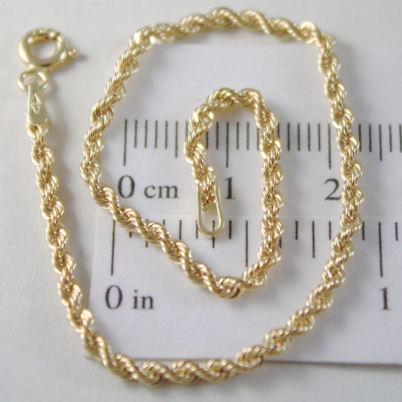 Bracelet or Jaune ou Blanc 750 18K Corde Tressé,18,5 cm,Fabriqué en Italie
