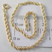 Bracelet or Jaune ou Blanc 750 18K Corde Tressé,18,5 cm,Fabriqué en Italie - $156.00