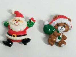 2 Russ Christmas Santa Teddy Bear Vintage Plastic Holiday Brooch Pin Lot - $5.99