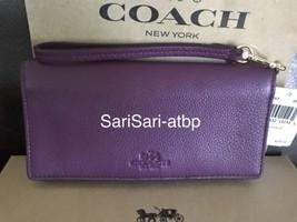 Coach F53767 Pebbled Leather Slim Wallet Plum Purple Brass Hardware NWT ... - $139.99