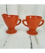 Vtg Hazel Atlas Ovide Platonite Pastel Burnt Orange Rust Color Creamer & Sugar - $14.54