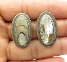 MEXICO 925 Sterling Silver - Vintage Abalone Shell Oval Stud Earrings - E6833 - $42.54