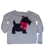 Carters Baby Girls Sweater Size 6 Months White Blue Pink Scottie Dog Cot... - $12.95