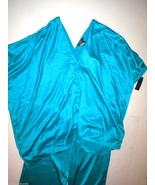 NWT New Designer Natori XS Aqua Blue Caftan Tunic PJ Set Womens Silky Satin - $123.50