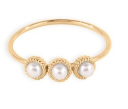 10 k Solid Yellow Gold Handmade 3 Cultured Pearl Ring Engagement Wedding... - $199.00